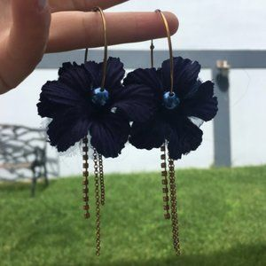 Vintage Blue and Gold Flower Hoop Earrings